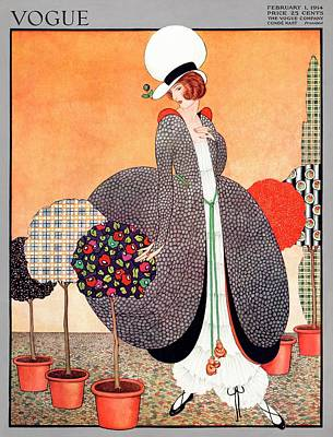 A Vogue Cover Of A Woman With Fabric Swatch Pot Art Print