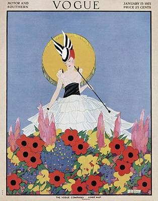 A Vogue Cover Of A Woman With Flowers Art Print