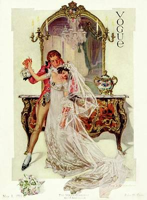 Sconce Photograph - A Vogue Cover Of An 18th Century Bridal Couple by Frank X. Leyendecker