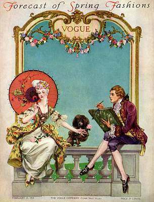 Balustrades Photograph - A Vogue Cover Of An 18th Century Couple by Frank X. Leyendecker