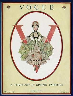 A Vogue Cover Of An 18th Century Shepherdess Art Print by Frank X. Leyendecker