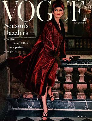 Dior Photograph - A Vogue Cover Of Anne St. Marie Wearing A Dior by Henry Clarke