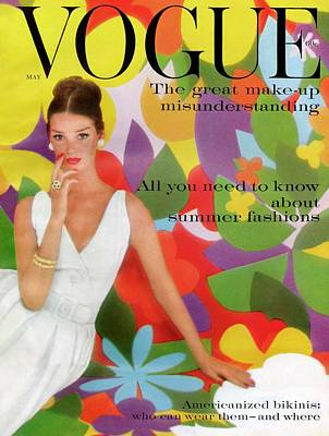 1950s Fashion Photograph - A Vogue Cover Of Dolores Hawkins With A Floral by William Bell