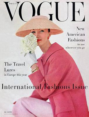 1950s Fashion Photograph - A Vogue Cover Of Evelyn Tripp Wearing Pink by Karen Radkai