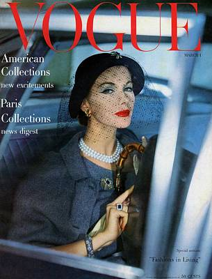 1950s Fashion Photograph - A Vogue Cover Of Joan Friedman In A Car by Clifford Coffin
