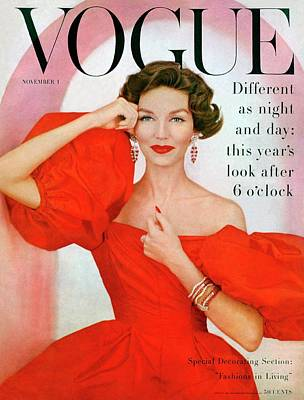 1950s Fashion Photograph - A Vogue Cover Of Joanna Mccormick Wearing by Richard Rutledge