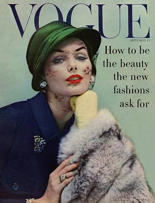 Looking At Camera Photograph - A Vogue Cover Of Lucinda Hollingsworth With A Fur by Karen Radkai
