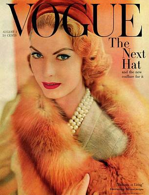 1950s Fashion Photograph - A Vogue Cover Of Mary Mclaughlin Wearing A Fox by Horst P. Horst
