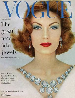 1950s Fashion Photograph - A Vogue Cover Of Mary Mclaughlin Wearing Miriam by Leombruno-Bodi