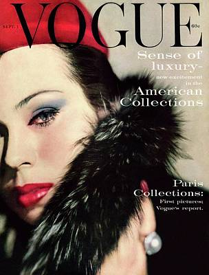 1950s Fashion Photograph - A Vogue Cover Of Morris Wearing A Fur Collar by Karen Radkai