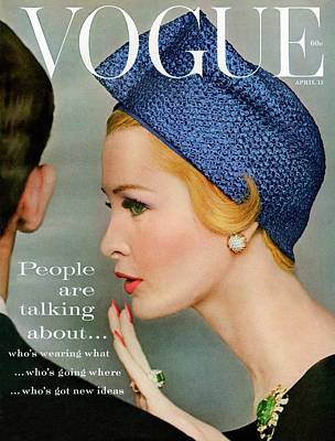 1950s Photograph - A Vogue Cover Of Sarah Thom Wearing A Blue Hat by Richard Rutledge