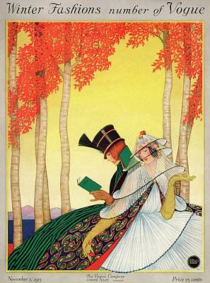 Autumn Photograph - A Vogue Cover Of Women Sitting In A Forest by George Wolfe Plank