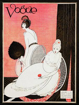 Vintage Hats Photograph - A Vogue Cover Of Women Wearing Lounging Dresses by George Wolfe Plank
