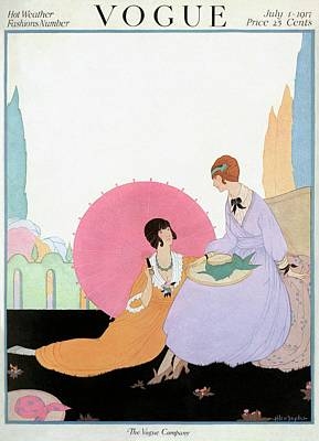 A Vogue Cover Of Women With A Parasol Print by Helen Dryden