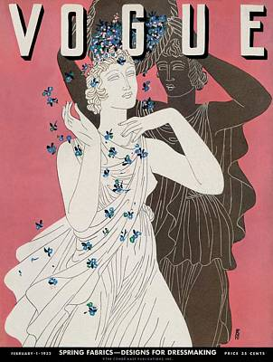 A Vogue Cover Of Women With Flowers Art Print