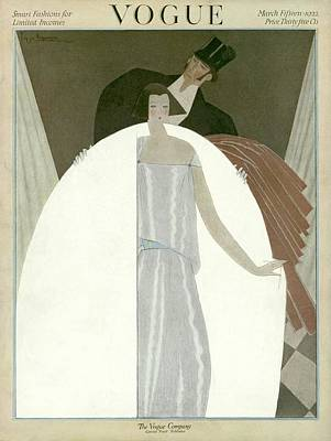 A Vogue Magazine Cover Of A Wealthy Man And Woman Art Print by Georges Lepape