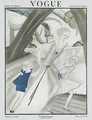 Photograph - A Vogue Magazine Cover Of A Woman And Two by Georges Lepape