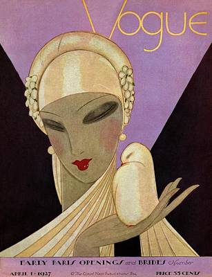 A Vogue Magazine Cover Of A Woman Art Print