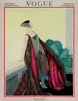 Embellished Photograph - A Vogue Magazine Cover Of A Woman by George Wolfe Plank