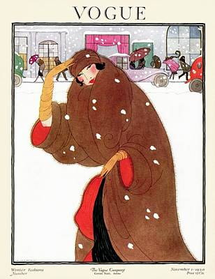 Winter Photograph - A Vogue Magazine Cover Of A Woman by Helen Dryden