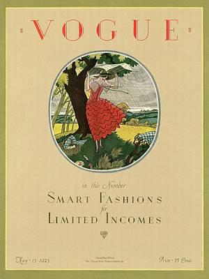 A Vogue Magazine Cover Of A Woman Art Print