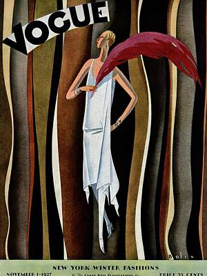 A Vogue Magazine Cover Of A Woman Art Print by William Bolin
