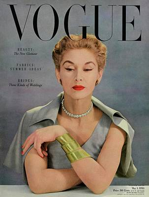 Necklace Photograph - A Vogue Magazine Cover Of Lisa Fonssagrives by John Rawlings