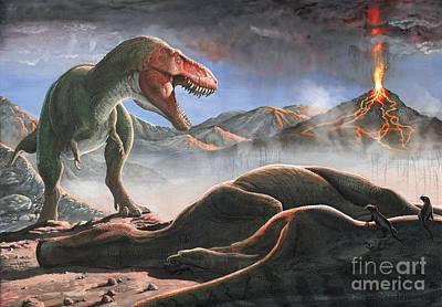 A Volcanic Eruption Destroys Art Print by Sergey Krasovskiy