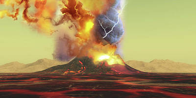 Heat Lightning Photograph - A Volcano Erupts With A Burst Of Smoke by Corey Ford
