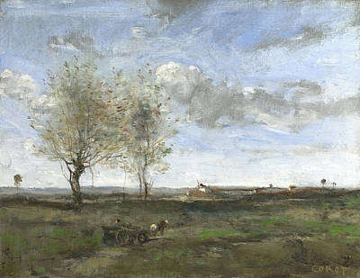 A Wagon In The Plains Of Artois Art Print by Jean-Baptiste-Camille Corot