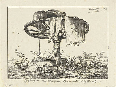 Wagon Wheels Drawing - A Wagon Wheel On A Tree Trunk, Some Clothing by Artokoloro