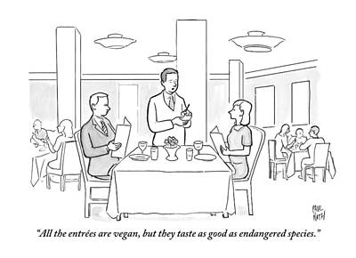 Food Drawing - A Waiter Addresses A Couple Who Are Seated by Paul Noth