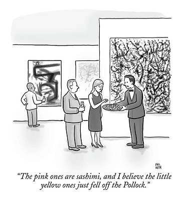 Museums Drawing - A Waiter Is Seen Speaking With A Woman In An Art by Paul Noth