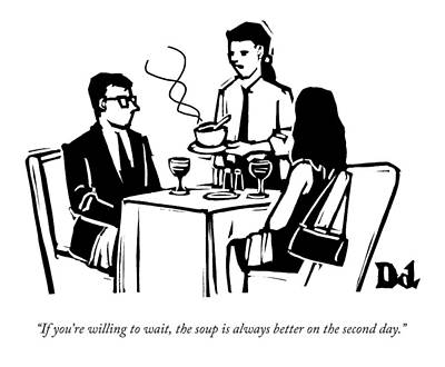 Cooking Drawing - A Waitress Speaks To Customers At A Restaurant by Drew Dernavich
