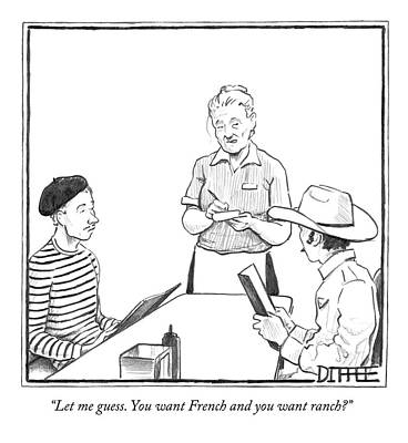 Cowboy Hat Drawing - A Waitress Takes The Orders Of Two Men by Matthew Diffee