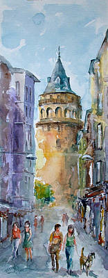 Art Print featuring the painting A Walk Around Galata Tower - Istanbul by Faruk Koksal