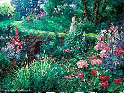 Cao Yong Painting - A Walk In Garden by Cao Yong