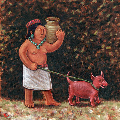 Indian Cultural Painting - A Walk In Old Colima by Holly Wood