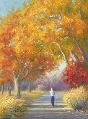 Young Woman Painting - A Walk In The Fall by Lucie Bilodeau
