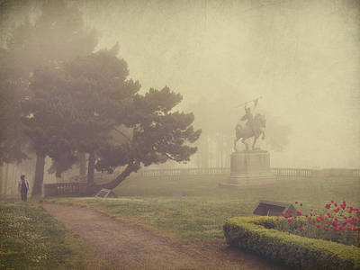 Textured Landscape Photograph - A Walk In The Fog by Laurie Search