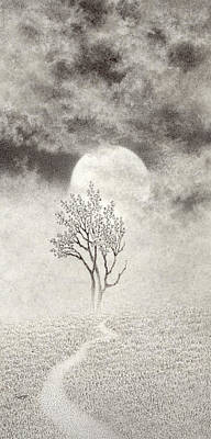 Drawing - A Walk In The Moonlight by Mark  Reep