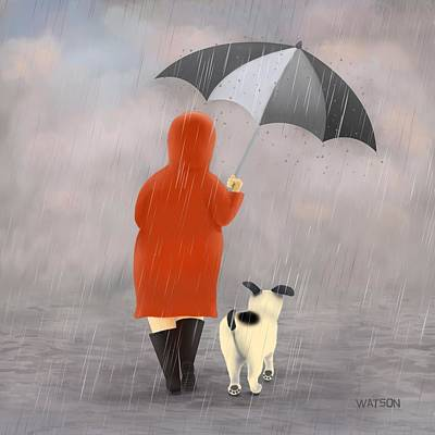 Digital Art - A Walk In The Rain 2 by Marlene Watson