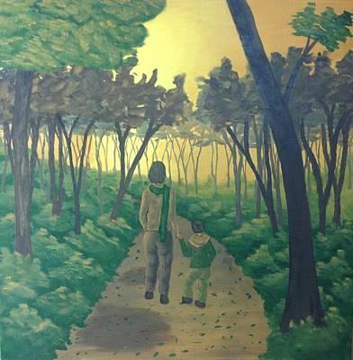 Abstract Realist Landscape Painting - a walk in the sunset I by Shikha Mahajan