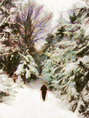 Painting - A Walk In The Winter Woods by Menega Sabidussi