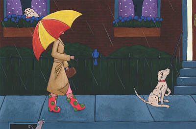 Raincoats Painting - A Walk On A Rainy Day by Christy Beckwith