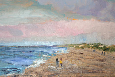 Art Print featuring the painting A Walk On The Beach by Michael Helfen