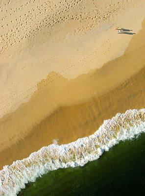 A Walk On The Beach. A Kite Aerial Photograph. Art Print by Rob Huntley