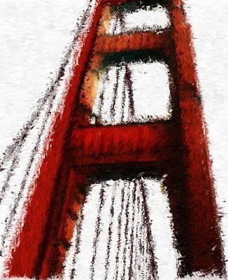 Digital Art - A Walk On The Golden Gate_impressionist Digital Painting by Asbjorn Lonvig