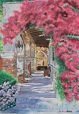 San Juan Capistrano Painting - A Walk Through The Mission by Christine Rivers