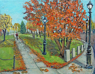 Central Massachusetts Painting - A Walk Through The Waltham Common by Rita Brown